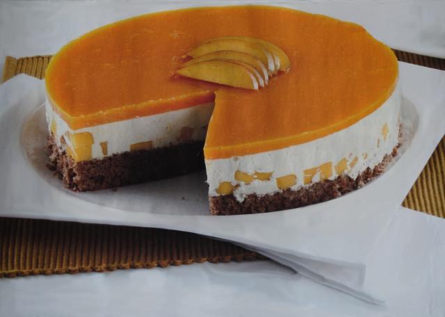 Cheesecake de alfarroba e manga