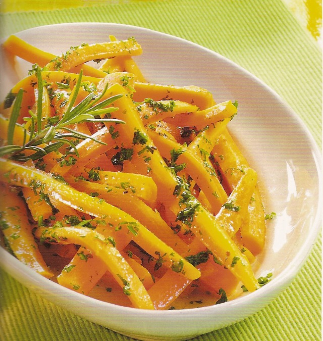 Cenouras em mostarda e rosmaninho