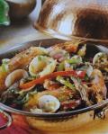 Cataplana de carne e camarão