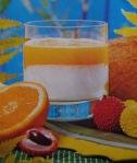 Sumo de laranja e líchias