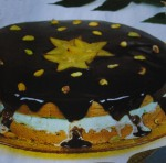 Bolo de chocolate com gelado de menta