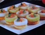 Canapés de alho-francês e salmão
