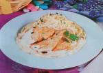 Escalopes de peru com esparguete