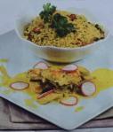 Bifinhos de peru com arroz de caril