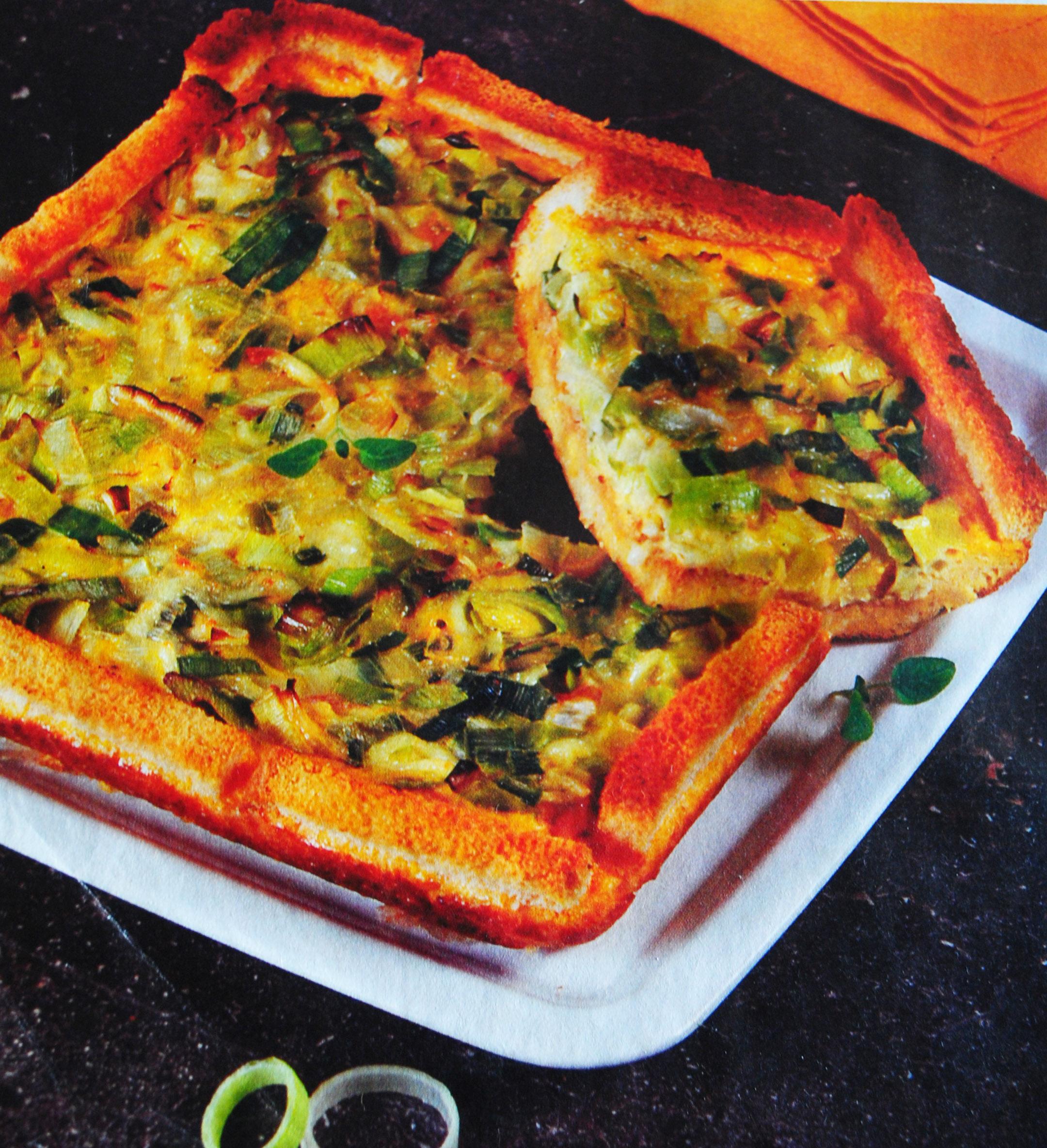 Quiche de pão e alho francês